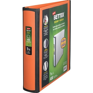 Staples Better 1.5-Inch D 3-Ring View Binders, Orange (13467)