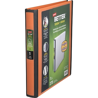 1in. Staples® Better® View Binder with D-Rings, Orange