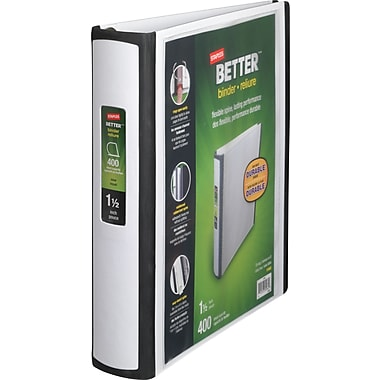 1-1/2in. Staples® Better® View Binders with D-Rings, White