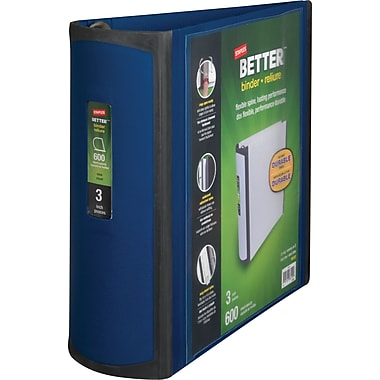3in. Staples® Better® View Binder with D-Rings, Blue