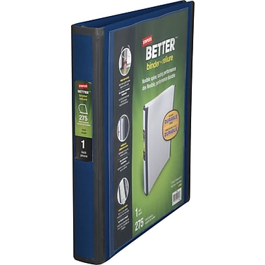 1in. Staples® Better® View Binder with D-Rings, Blue
