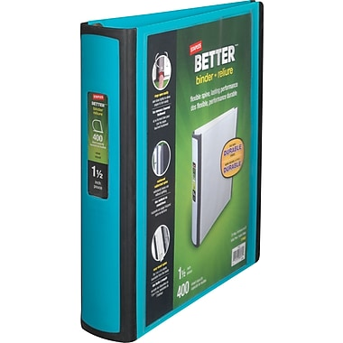 1-1/2in. Staples® Better® View Binders with D-Rings, Teal