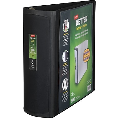 3in. Staples® Better® View Binder with D-Rings, Black