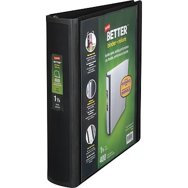 Staples Better 1.5-Inch D 3-Ring View Binder, Black (13394)
