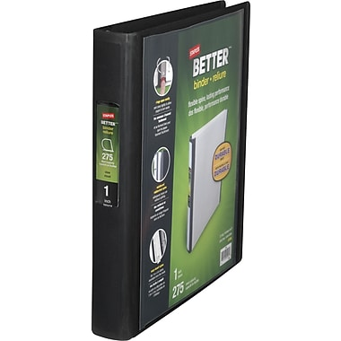 1in. Staples® Better® View Binder with D-Rings, Black