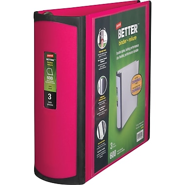 Staples Better 3-Inch D-Ring View Binder, Pink (15128-US)