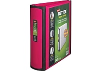 2' Staples® Better® View Binder with D-Rings, Pink