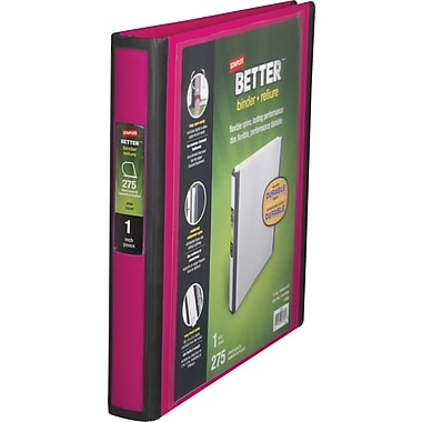 1in. Staples® Better® View Binder with D-Rings, Pink