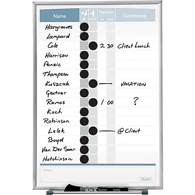 Quartet® Magnetic  In/Out Employee Tracking Board