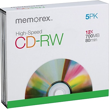 Memorex 5/Pack 700MB CD-RW, Slim Jewel Cases