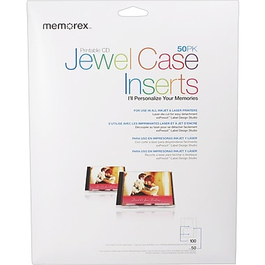 Memorex White Matte Jewel Case Inserts, 50/Pack
