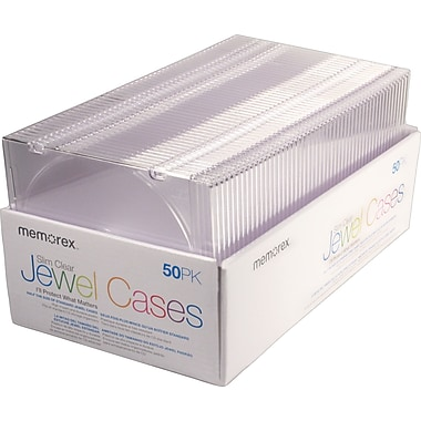 Memorex Slim Clear Jewel Cases, 50/Pack
