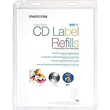 Memorex White CD Labels, 300/Pack