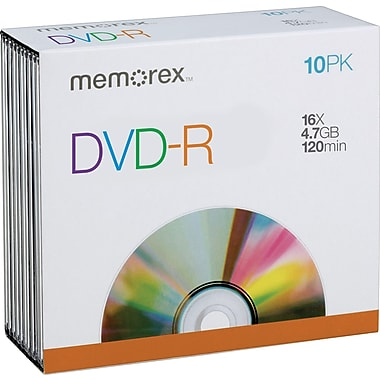 Memorex 32020027143 4.7GB DVD-R, Jewel Cases, 10/Pack