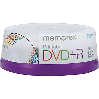 Memorex 20/Pack 4.7GB Printable DVD+R, Spindle