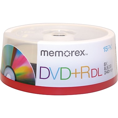 Memorex 15/Pack 8.5GB DVD+R DL, Spindle
