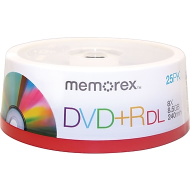 Memorex 25/Pack 8.5GB Double Layer DVD+R, Spindle