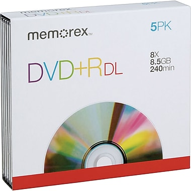 Memorex  5/Pack 8.5GB DVD+R DL, Jewel Cases