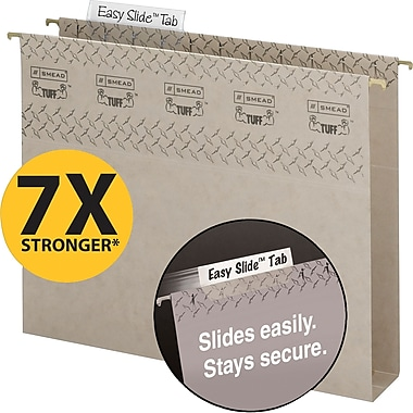 Smead TUFF® Box-Bottom Hanging File Folders with Easy Slide™ Tabs, Legal, 3 Tab, Steel Gray, 18/Box