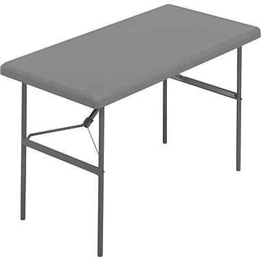 Iceberg 4' Heavy-Duty Commercial-Grade Resin Folding Banquet Table, Charcoal