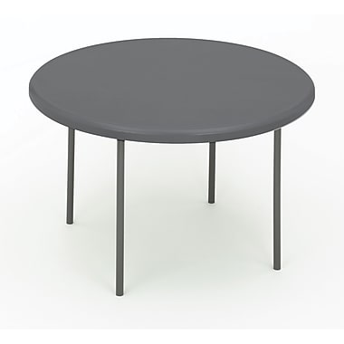 Iceberg 1200 Series 4' Indestruc-Tables Too™ Round Resin Folding Banquet Table, Charcoal