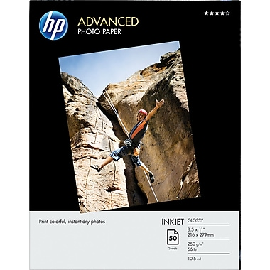 HP Advanced Photo Paper, 8in. x 11in., Glossy, 50/Pack