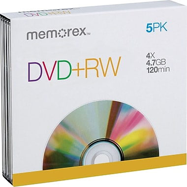 Memorex 5/Pack 4.7GB DVD+RW, Jewel Cases