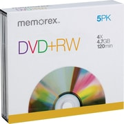 Memorex™ 5/Pack 4.7GB DVD+RW, Jewel Cases