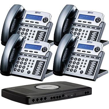 XBLUE X16 4-Line Small Office Telephone System, 4/Pack, Titanium Metallic