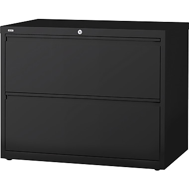 Staples® HL8000 Commercial 36in. Wide 2-Drawer Lateral File Cabinet, Black