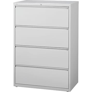 Staples HL8000 Commercial 4 Drawer Lateral File Cabinet, Gray, 36