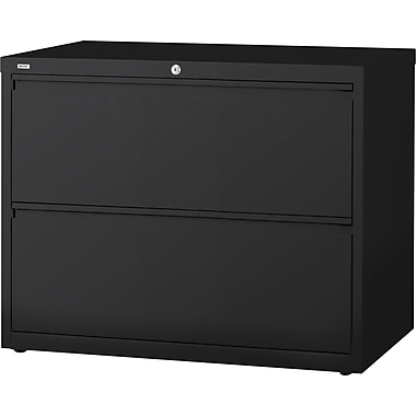Staples® HL8000 Commercial 42in. Wide 2 Drawer Lateral File Cabinet, Black