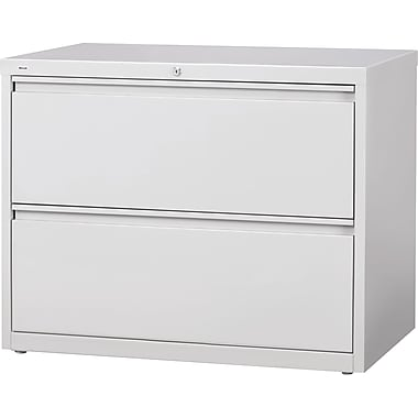 Staples® HL8000 Commercial 42in. Wide 2 Drawer Lateral File Cabinet, Light Gray
