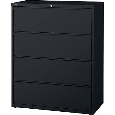 Staples® HL8000 Commercial 42in. Wide 4 Drawer Lateral File Cabinet, Black