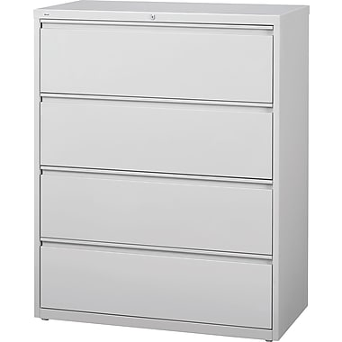 Staples® HL8000 Commercial 42in. Wide 4 Drawer Lateral File Cabinet, Light Gray