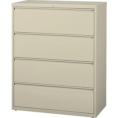 Staples® HL8000 Commercial 42in. Wide 4 Drawer Lateral File Cabinet, Putty