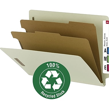 Smead® 100% Recycled End-Tab Classification Folders, Letter, 2 Partition, Gray/Green, 10/Box
