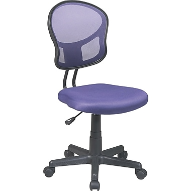 Office Star Mesh Armless Low-Back Task Chair, Purple
