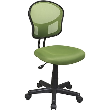 Office Star Mesh Armless Low-Back Task Chair, Green