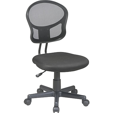 Office Star Mesh Armless Low-Back Task Chair, Black