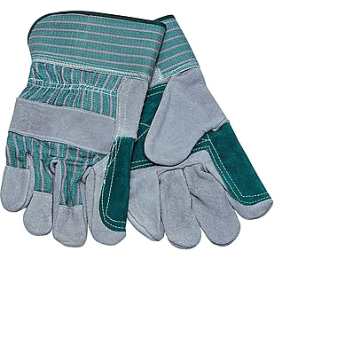 Safety Zone Double-Reinforced Leather Palm with Safety Cuff, Men's Size, Green Stripped