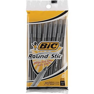 BIC® Round Stic® Ballpoint Pens, Medium Point, Black, 8/Pack