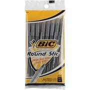 BIC® Round Stic® Ballpoint Pens, Medium Point, Black, 8/Pack