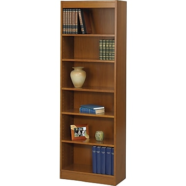SAFCO Workspace Veneer Baby 24in. Wide Bookcase, Medium Oak, 6-Shelf