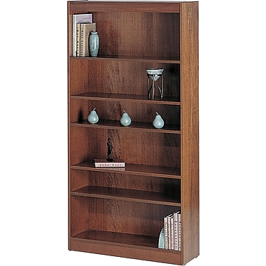 SAFCO Workspace Veneer Baby 30in. Wide Bookcase, Medium Oak, 6-Shelf