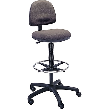 Safco Precision Extended Drafting Swivel Stool, Fabric, Dark Grey