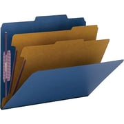 Smead® Colored Pressboard Classification Folders, Letter, 2 Partitions, Dark Blue, 10/Box