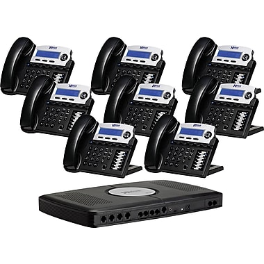 XBLUE X16 6-Line Small Office Telephone System, 8/Pack, Charcoal