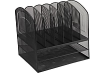Staples® Black Wire Mesh 2 Horizontal/6 Upright Section Organizer