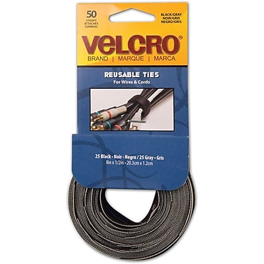 VELCRO® Brand Reusable Ties, Black & Gray, 50/Pack